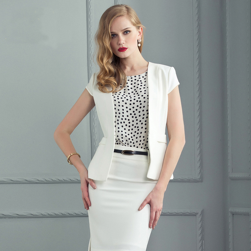 Original Aliexpresscom  Buy Formal White Blazer Women Suits With Skirts And