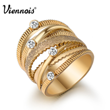 Viennois Brand New Wide Gold Color Multilayer Hollow Rings for Women Trendy Stack Ring Jewelry Female Finger Ring(China (Mainland))