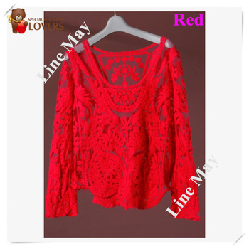 13colors 2015 New Women's Semi Sheer Sleeve Embroidery Top Tshirt Sexy Lace Floral Crochet Blouse Shirt For Lady sale