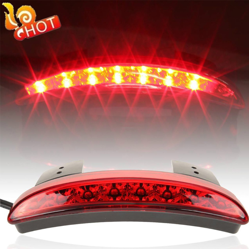 New High Quality Motorcycle Light Smoke&Red Color Rear Fender Edge Red LED Brake Tail light Fit For Harley Sportster XL 883 1200(China (Mainland))