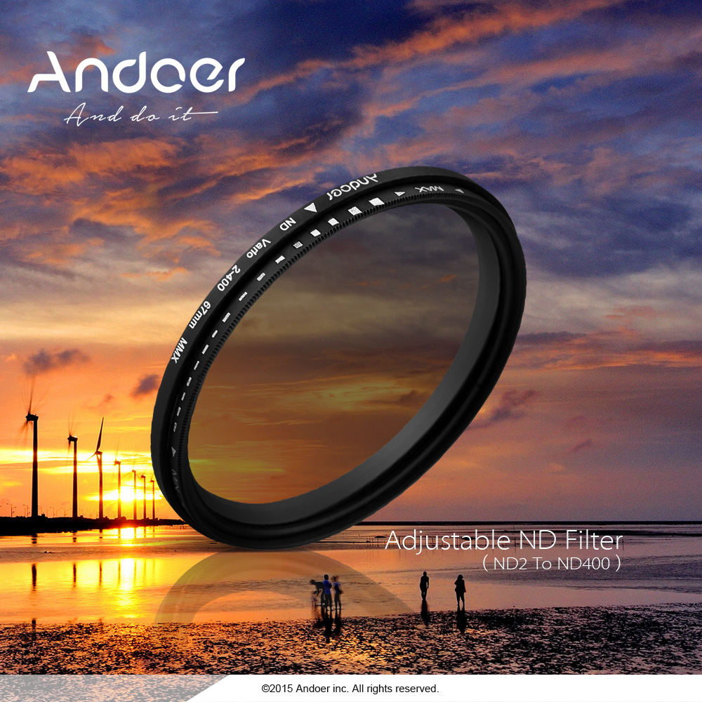 Andoer Camera Filters 49mm ND Fader Neutral Density Adjustable ND2 to ND400 Variable Filter for Canon Nikon DSLR Camera(China (Mainland))