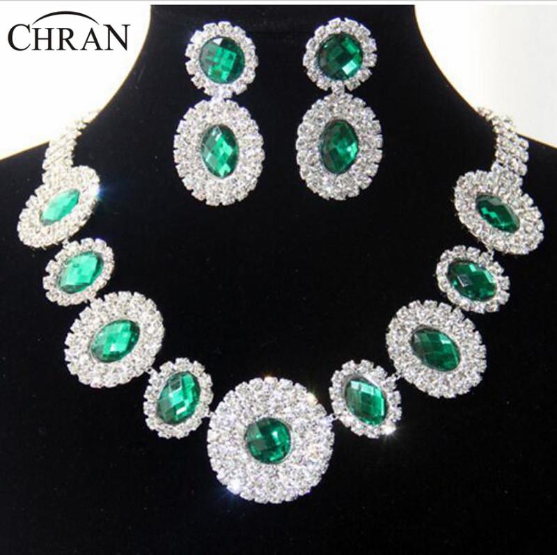 4 Colors Retro Designer Rhinestone Wedding Earrings Necklace Green Sets Fashion Women Jewelry DDJSR1619 - Dragon Decoration Co.,Ltd. store