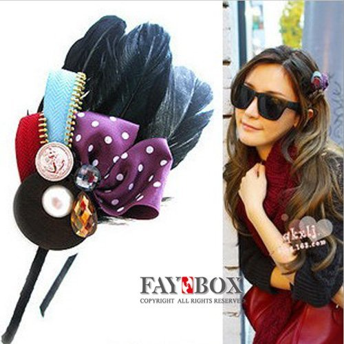 2012 New Arrival! Lady's Fashion Flower Hair Band,with Natura Feather Decoration,Fashion Hair Accessories,24pcs/lot!