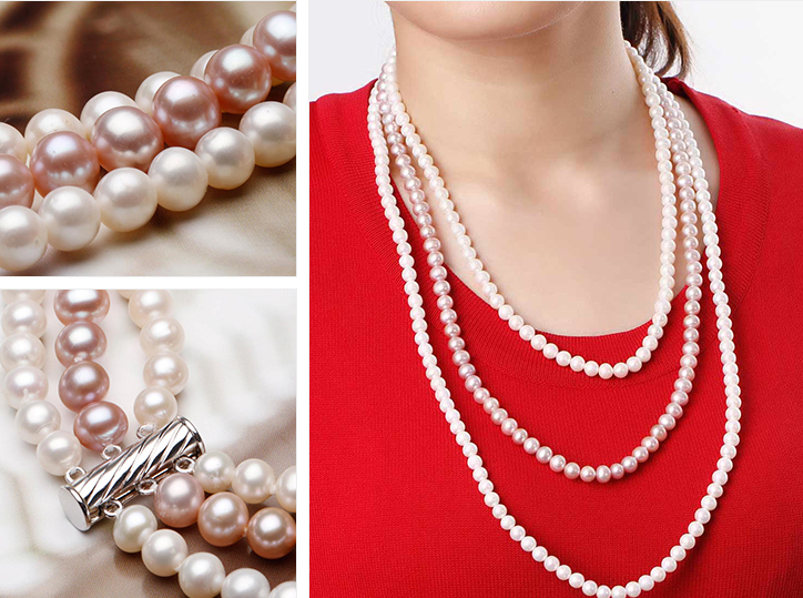 Wedding women Jewelry 3 Row Necklace 23inch 6-7mm Top AAA Natural Freshwater pearl White Purple Long Necklace highlight Handmade(China (Mainland))