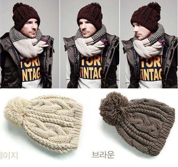 2015 Autumn and winter free shipping vintage hat Wool knitted fashion cap male men winter beanies with pomp(China (Mainland))