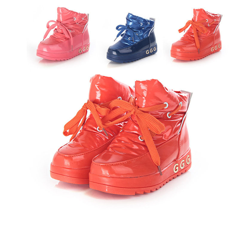 Free shipping 2015 Spring Fashion children martin boots bright japanned motorcycle girls snow PU sneakers(China (Mainland))