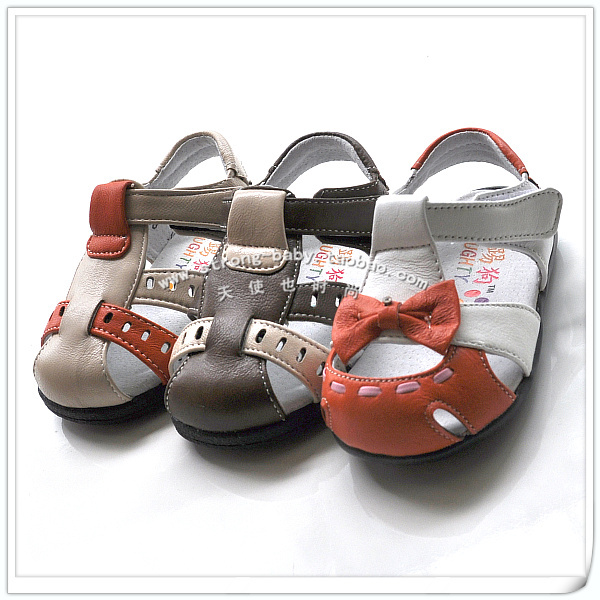 Baby toe cap covering sandals hard skidproof toddler shoes girls shoes male 1 - 3 years old