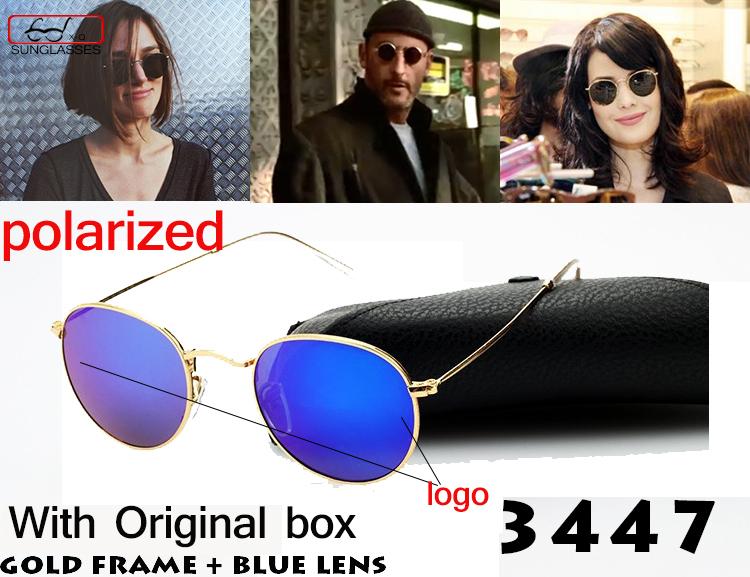 Luxury brand Round Metal Polarized Sunglasses womem mens Designer Polarizing Sun Glasses Gold Lenses with original case and logo(China (Mainland))
