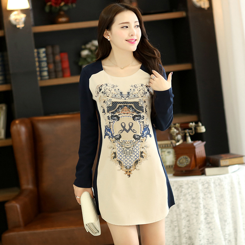 Spring 2015 o-neck long-sleeve fashion one-piece plus size dress women's color block Baroque decoration pattern print - SGQ store
