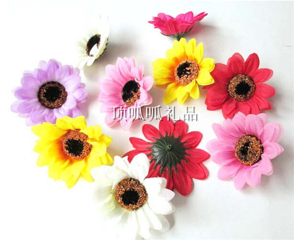 100pcs Hotsale cheap artificial flowers sunflower/daisy head 7cm silk gerbera for hair clip accessories flower arrangement(China (Mainland))