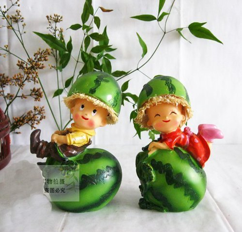 Free shipping wholesale and retail handcraft painted resin table ornament one pair of watermelon shape dolls