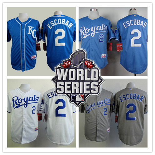 stitched Mens KC blue,gray,white #2 Alcides Escobar Royals jersey,cheap Kansas City Royals 2015 World Series Patch jerseys<br><br>Aliexpress