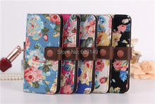 100pcs/lot Free shipping 5colours Flowers pattern with card holder+Frame mobile phone parts case for iphone 6 6g 4.7″ PU case
