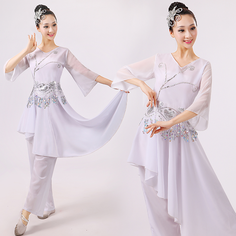 Fashion Disfraces Chinese Classical Dance Costumes Yangko Sequins Female Fan Drum Wear Stage Performance Clothes(China (Mainland))