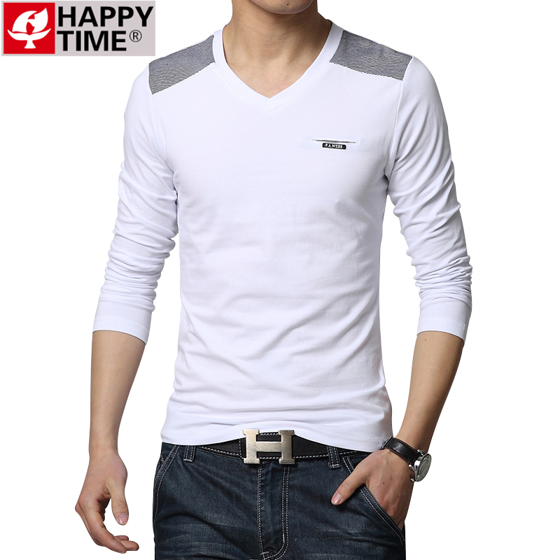 Men's leisure T-shirt new men V-neck printing long sleeve T-shirt men's clothing of cultivate one's morality(China (Mainland))