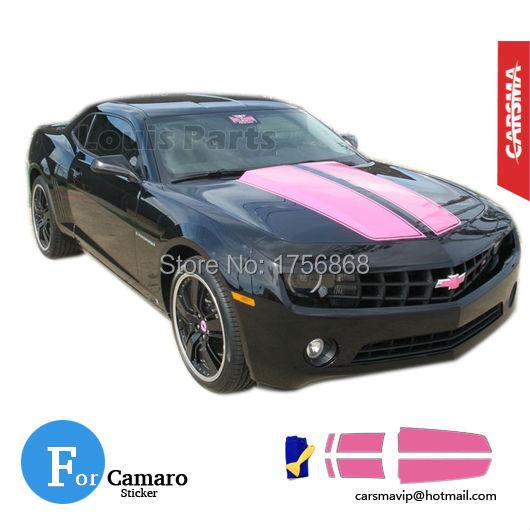 Camaro Pink Rally Racing Stripes Hood Trunk RS SS 2010 2011 2012 2013 PRO(China (Mainland))