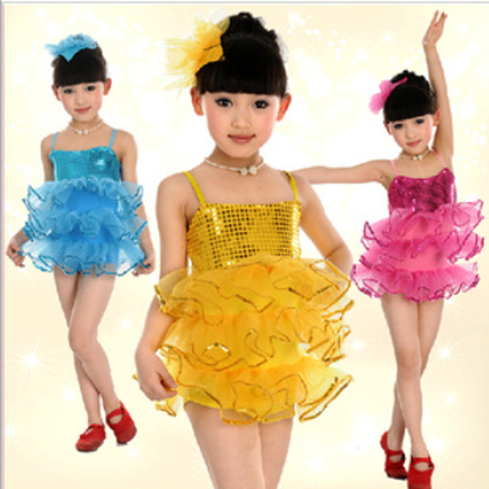 Dance training school Sling sequined costumes Latin dance girls Puff skirt ballet suits stage performance clothing - Children Performance Clothing store