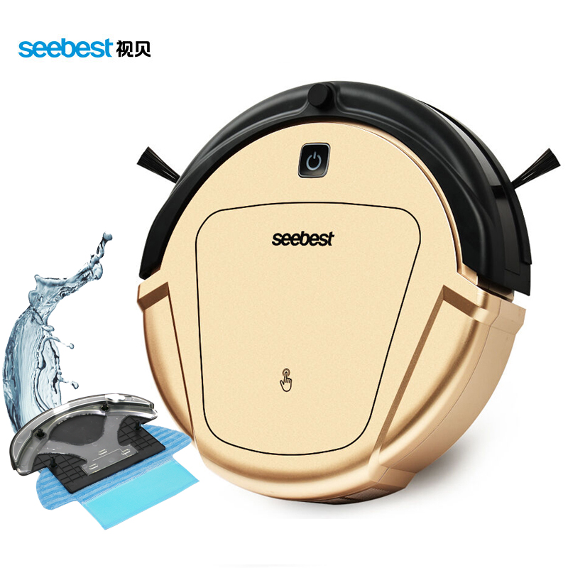 Seebest D750 TURING 1.0 Dry and Wet Mop Vacuum Clean Robot with Water Tank and GPS Zigzag Clean Route, Russia Warehouse(China (Mainland))