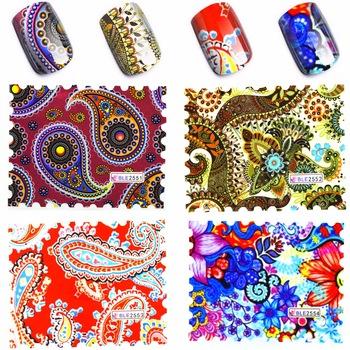 YZWLE 4 Sheets Vines Pattern Water Decal Elegant Floral Nail Watermark Sticker Nails Nail Art Transfer Sticker