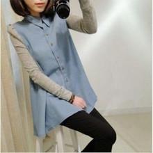 1031 # maternità abbigliamento 2015 moda primavera manicotto di soffio piccolo risvolto shirt top casual wear autunno vestiti per le donne incinte(China (Mainland))