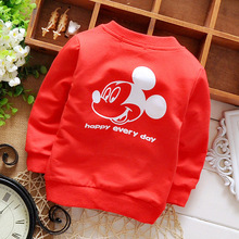 2016 Spring Autumn Long Sleeved Cartoon Mouse Letter Girls Boys Jackets Cardigan Baby Infant Children Kids