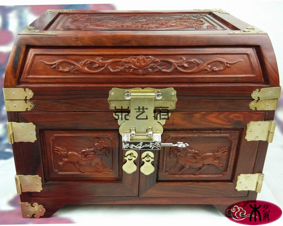 Wooden house red wood jewelry box carved jewelry box mirror box red wood carving furniture Decoration Wedding gifts(China (Mainland))