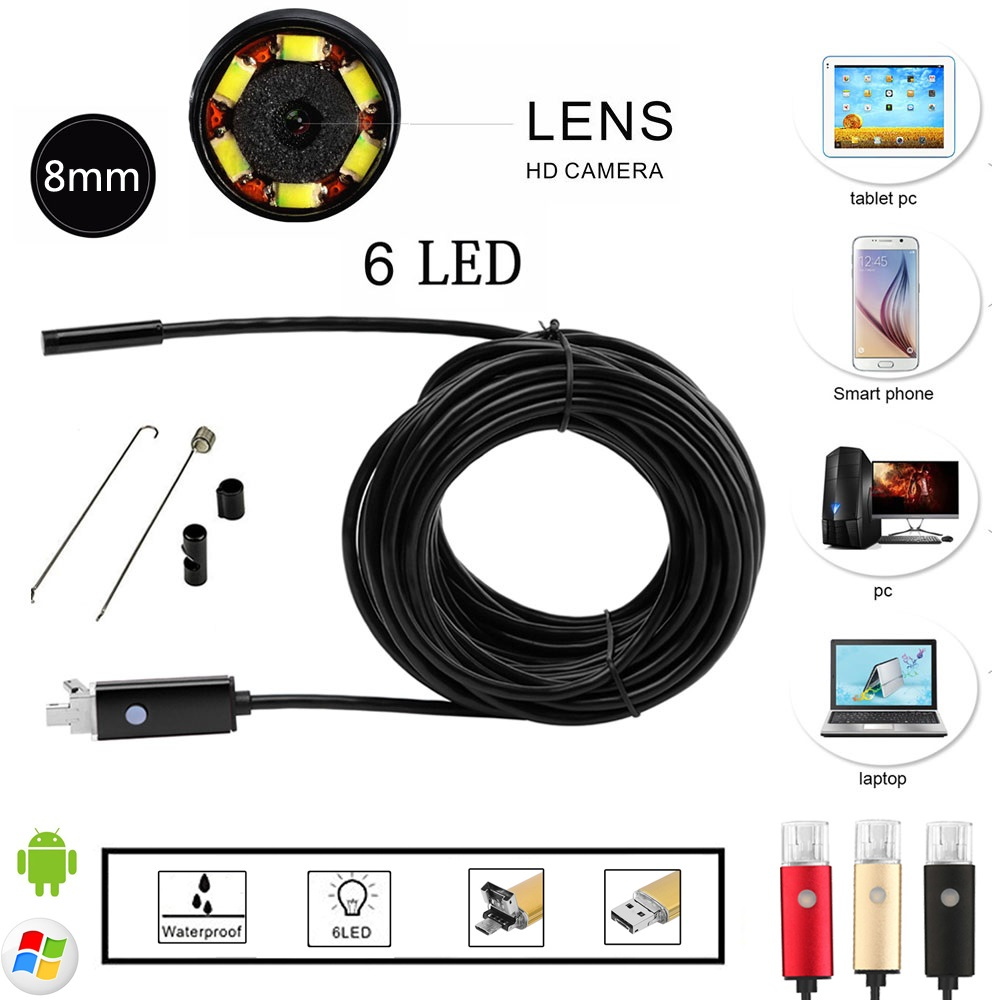 PC USB Android 2-in-1 Interface Endoscope 8mm Lens Waterproof Borescope Inspection Camera Videcam Inspection Borescope Length 2M(China (Mainland))