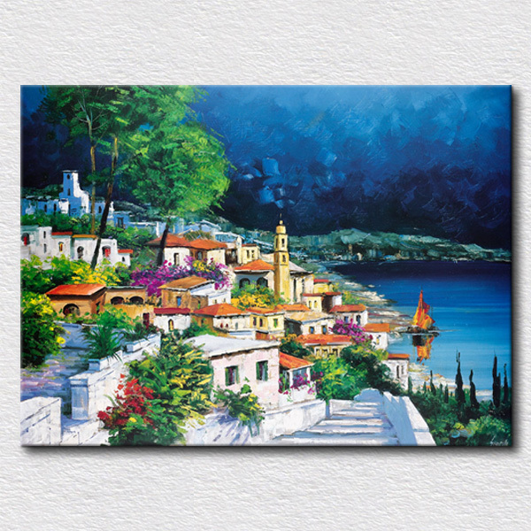 Clean City Picture Oil Painting Home Decoration Wall Art High Quality Reproduction Canvas