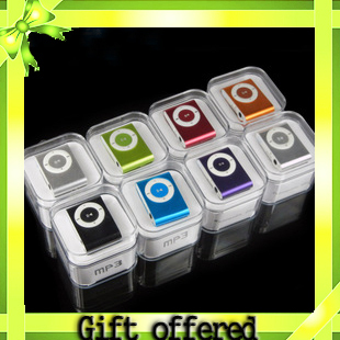 Cheap 1PC mini Clip mp3 player support micro sd card with Gift box+earphone+usb cable Freeshipping
