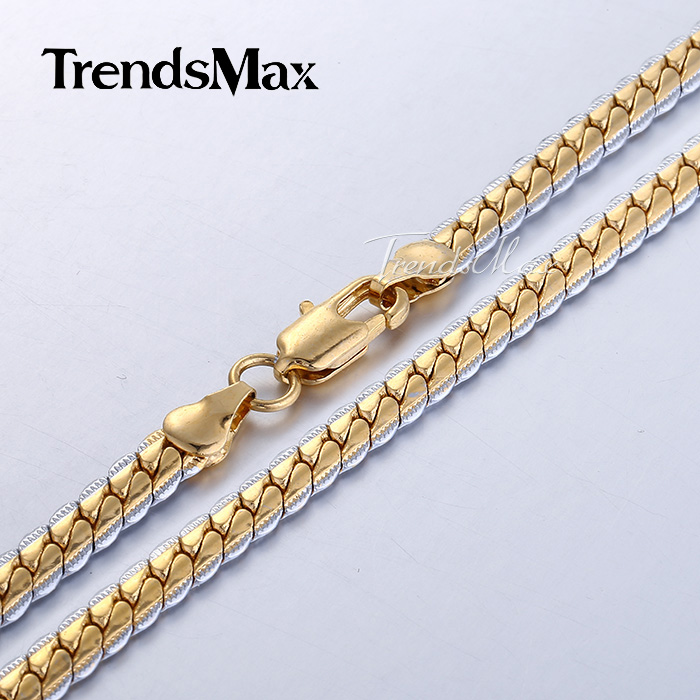 5mm Womens Mens Chain Silver Yellow Gold Filled GF Necklace Boys Girls Hammered Close Curb Cuban Link Gift Jewelry GN353(Hong Kong)