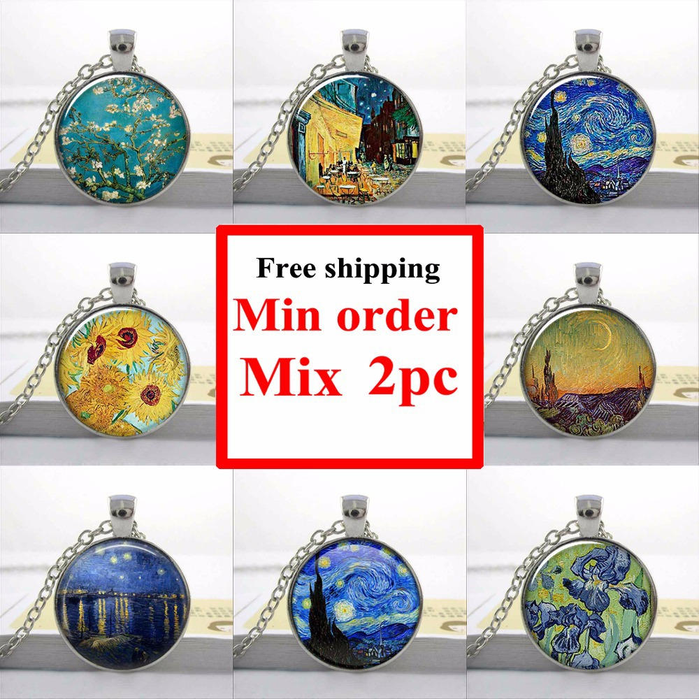 Van Gogh Almond Branch in Bloom art pendant, bridal jewelry wedding famous painting necklace(China (Mainland))
