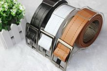 Men Belt Fashion PU Leather Black White Camel Length 103cm Waist Belt for Men Women Brand Luxury Men's Accessories