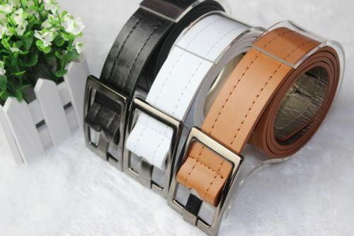Men Belt Fashion PU Leather Black White Camel Length 103cm Waist Belt for Men Women Brand Luxury Men's Accessories(China (Mainland))