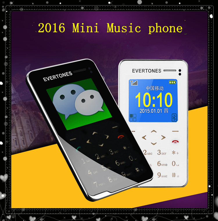 2016 Evertones V5 Mini music mobile phone 1.8' Ultra Thin AIEK V5 touch keyboard card phone Children kids Gift pocket Cell phone(China (Mainland))