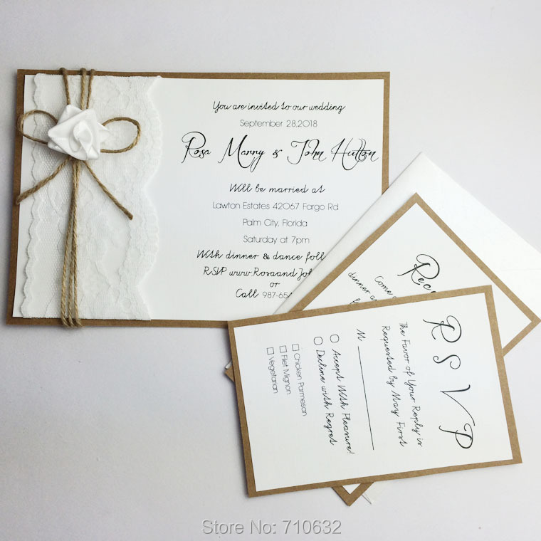 rustic lace wedding invitations a set with main invitation rsvp card