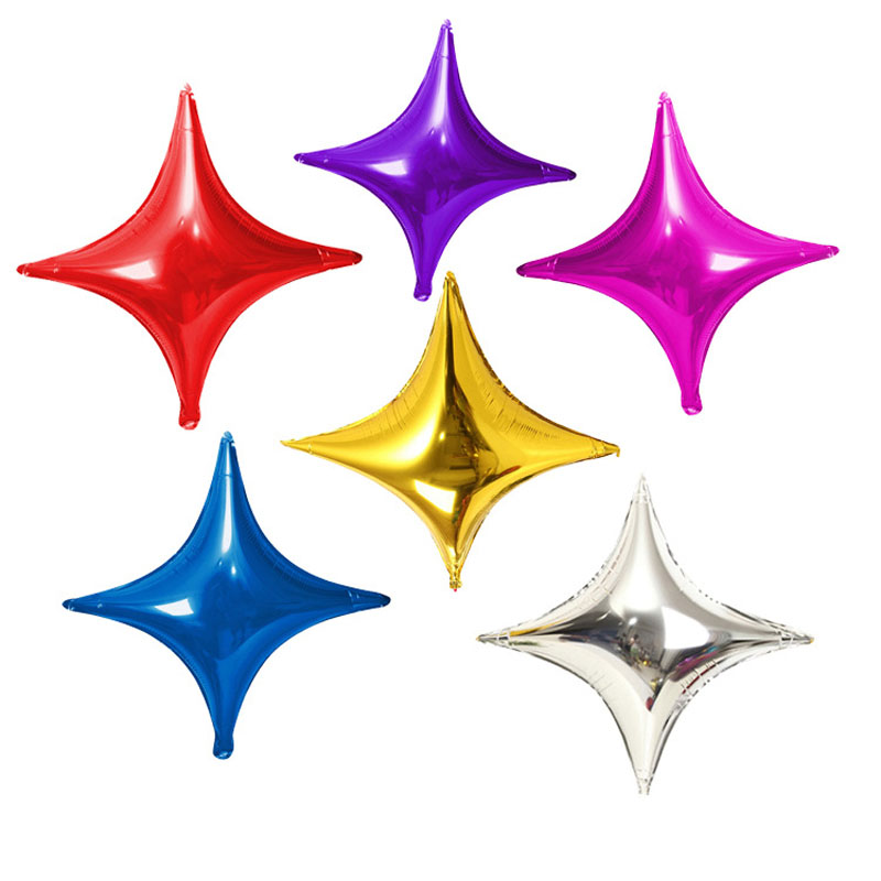 50pcs/lot 10inch Multicolor Four Corners Star Foil Balloons Party Decorations Ballons Baby Shower Wedding Decor Air Balloon B201(China (Mainland))