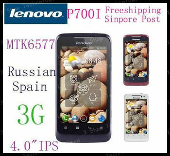 Free shipping  airmail MTK6577 phone Lenovo P700i Android 4.0 smart phone 2500Mah big battery IPS russian in stock