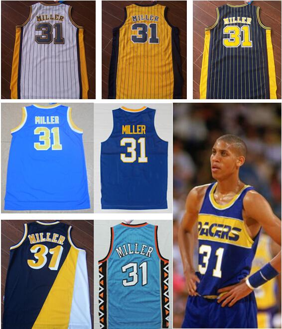 Wholesale Men's #31 Reggie Miller Jersey Cheap White Black Blue Yellow Basketball Jerseys Best Quality(China (Mainland))