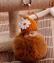 Pom Pom Keychain llaveros Sleutelhanger Cadeias Anel Chave do Saco Das Mulheres Bolsa de Pele De Coelho Bebê Fofo Artificial Pompom Chaveiro Menina(China)