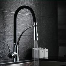 Buy Black Chrome Finish Kitchen Sink Faucet Deck Mount Pull Dual Sprayer Nozzle Hot Cold Mixer Water Taps 72365 for $78.00 in AliExpress store