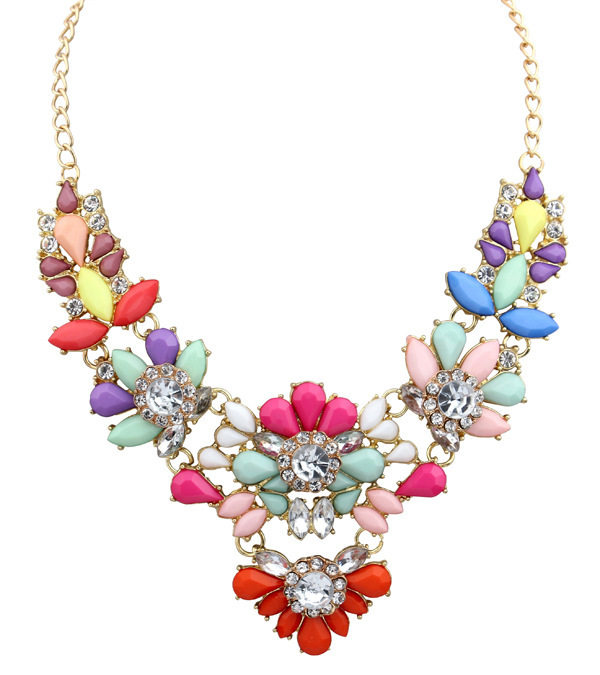 5colors Star Jewelry New Choker Fashion Necklaces Women 2014 Statement Pendant Stone Acrylic Flowers Necklace S26 - NO.1 store