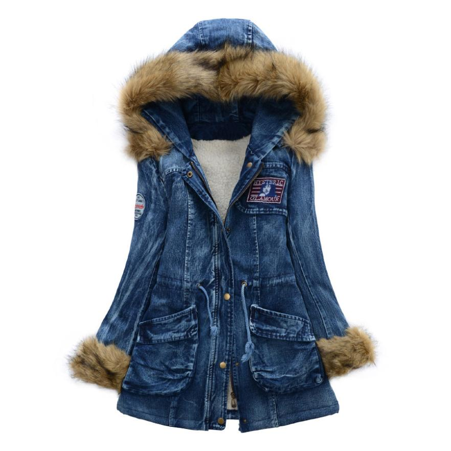 2014 Winter jacket women Parka drawstring badge slim denim wadded jacket large fur collar thickening cotton overcoat