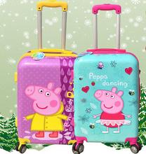 Дети тяга розовый поросенок сестра пепе PEPPA pig детские интернат багажа 20-inch колеса сопротивления коробки