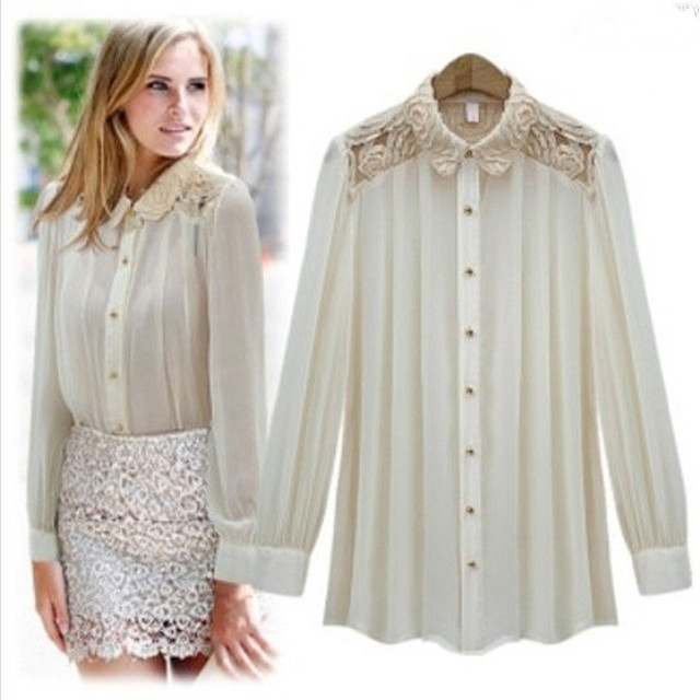 Women Shirts 2015 Summer Casual Blouse Long Sleeve Chiffon Shirts Women Blouse Shoulder Lace Women Tops Blusa Femininas