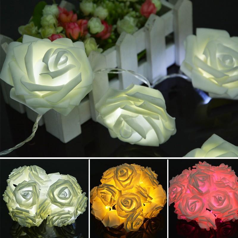 5Gorgeous Rose Flower Novelty String Lights 20 LED Bulbs Fairy Lamp Christmas Decoration Home Garden Party Ornament  -  Bravo!! store