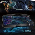 Hot Selling Red Purple Blue Backlight LED Pro Gaming Keyboard RK400 USB Wired Powered Gamer Keyboard