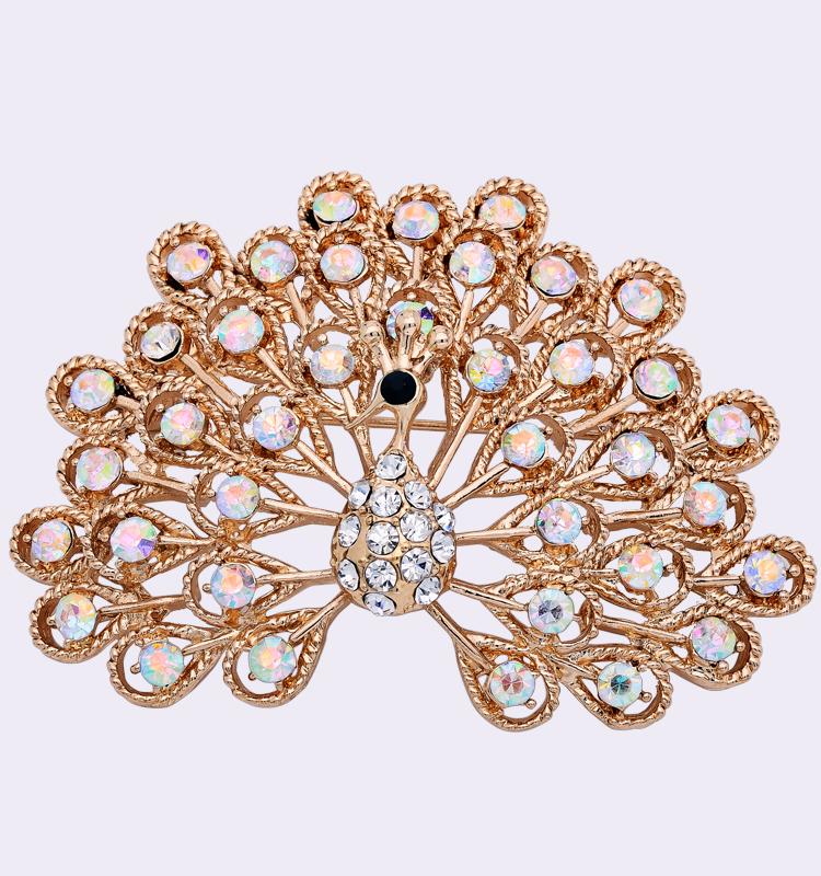 Free Shipping 2015 Silver Rhinestone Peacock Brooch for Scarf Women Gold Korean Crystal Broach X1536(China (Mainland))