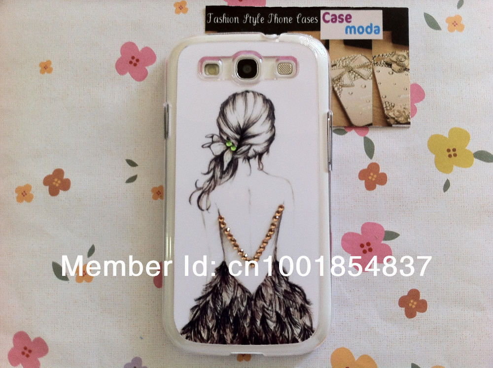 New Chic Glam Bling Sparkle Sexy Pretty Back Long Hair Girl Rhinestone For S3 i9300(China (Mainland))