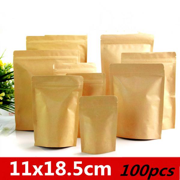 11x18.5cm 100pcs Stand up reclosable Aluminum foil endometrium Kraft paper bags/ Pack Chemical Products,seasoning,Soybean pouchs(China (Mainland))