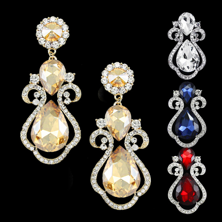 Fashion Crystal Drop Big Earrings for Women Champagne Gold Wedding Earrings Large Big Crystal Chandelier Earrings Red ersg74(China (Mainland))